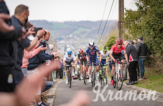 Diego Rosa (ITA/Arkéa-Samsic) & Louis Vervaeke (BEL/Alpecin-Fenix) lead the breakaway group up the steep Côte de Gives<br /> <br /> 85th La Flèche Wallonne 2021 (1.UWT)<br /> 1 day race from Charleroi to the Mur de Huy (BEL): 194km<br /> <br /> ©kramon