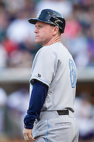 Wilmington Blue Rocks manager Darryl Kennedy (8) coaches third base during the game against the Winston-Salem Dash at BB&T Ballpark on April 3, 2014 in Winston-Salem, North Carolina.  The Blue Rocks defeated the Dash 3-1.  (Brian Westerholt/Four Seam Images)