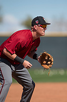 Arizona Diamondbacks third baseman Kevin Cron (50) takes infield practice during Spring Training Camp at Salt River Fields at Talking Stick on March 12, 2018 in Scottsdale, Arizona. (Zachary Lucy/Four Seam Images)