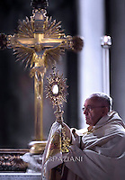 Pope Francis  during a Corpus Domini procession between the basilicas San Giovanni in Laterano and Santa Maria Maggiore on in Rome.4 june 2015