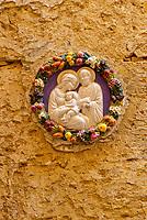 Mdina, Malta.  Ceramic Wall Decoration, Holy Family, Jesus, Mary, and Joseph on Mdina Residence Outside Wall.