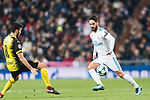 Isco Alarcon of Real Madrid (R) in action against Borussia Dortmund Midfielder Nuri Sahin (L) during the Europe Champions League 2017-18 match between Real Madrid and Borussia Dortmund at Santiago Bernabeu Stadium on 06 December 2017 in Madrid Spain. Photo by Diego Gonzalez / Power Sport Images