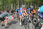 David Gaudu (Fra) Groupama-FDJ and James Knox (GBr) Deceuninck-QuickStep on the final climb of Erlaitz during Stage 4 of the Itzulia Basque Country 2021, running 189.2km from Vitoria-Gasteiz to Hondarribia, Spain. 8th April 2021.  <br /> Picture: Luis Angel Gomez/Photogomezsport | Cyclefile<br /> <br /> All photos usage must carry mandatory copyright credit (© Cyclefile | Luis Angel Gomez/Photogomezsport)