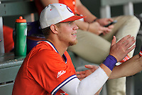 First baseman Seth Beer (28) of the Clemson Tigers talks with teammates in the dugout during a Purple-Orange fall scrimmage on Sunday, October 2, 2016, at Doug Kingsmore Stadium in Clemson, South Carolina. (Tom Priddy/Four Seam Images)