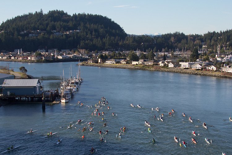 La Conner, Swinomish Channel, open water race, Sound Rowers Open Water Rowing and Paddling Club, Washington State, Pacific Northwest,  USA,