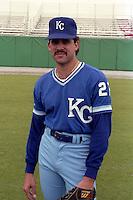 Kansas City Royals Luis Aquino (27) during spring training circa 1989 at Baseball City Stadium in Davenport, Florida.  (MJA/Four Seam Images)