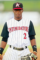 Kannapolis Intimidators shortstop Tim Anderson (2) warms up in the outfield prior to the game against the Greensboro Grasshoppers at CMC-Northeast Stadium on July 12, 2013 in Kannapolis, North Carolina.  The Grasshoppers defeated the Intimidators 2-1.   (Brian Westerholt/Four Seam Images)