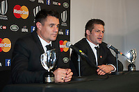 Richie McCaw of New Zealand speaks to the media as Dan Carter looks on at the World Rugby Awards 2015  - 01/11/2015 - Battersea Evolution, London<br /> Mandatory Credit: Rob Munro/Stewart Communications