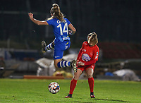 Lyndsey Van Belle (14) of AA Gent and Taika De Koker (16) of Woluwe in action during a female soccer game between FC Femina White Star Woluwe and AA Gent Ladies on the 13 th matchday of the 2020 - 2021 season of Belgian Scooore Womens Super League , friday 5 th of February 2021  in Woluwe , Belgium . PHOTO SPORTPIX.BE | SPP | SEVIL OKTEM