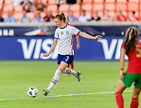 HOUSTON, TX - JUNE 10: Samantha Mewis #3 of the United States takes a shot at the Portugal goal during a game between Portugal and USWNT at BBVA Stadium on June 10, 2021 in Houston, Texas.