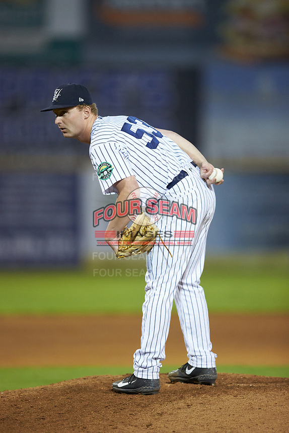 Pulaski Yankees relief pitcher Evan Voliva (53) looks to his catcher for the sign against the Burlington Royals at Calfee Park on September 1, 2019 in Pulaski, Virginia. The Royals defeated the Yankees 5-4 in 17 innings. (Brian Westerholt/Four Seam Images)