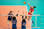Wing spiker Iuliia Kutiukova of Russia (R) spikes the ball during the FIVB Volleyball World Grand Prix match between Japan vs Russia on 23 July 2017 in Hong Kong, China. Photo by Marcio Rodrigo Machado / Power Sport Images