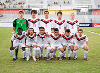 Canada lines up during the semifinals of the CONCACAF Men's Under 17 Championship at Catherine Hall Stadium in Montego Bay, Jamaica. Canada defeated Panama, 1-0.