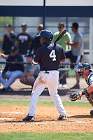 New York Yankees Tito Polo (4) at bat during a minor league Spring Training game against the Detroit Tigers on March 22, 2017 at the Yankees Complex in Tampa, Florida.  (Mike Janes/Four Seam Images)