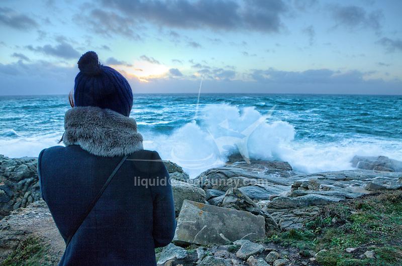 Winter storm on a rocky headland, locality Le Courégant, in front of the Ile de Groix.