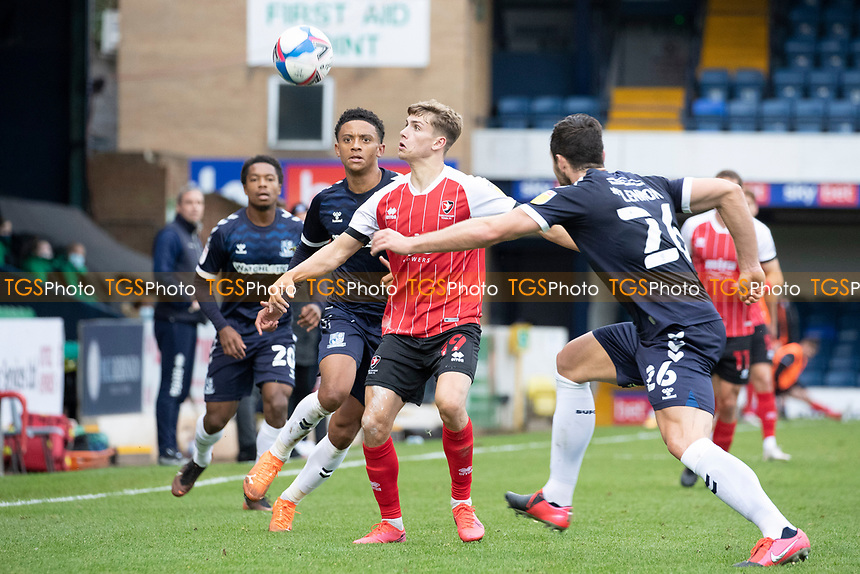 The Southend defenders give George Lloyd, Cheltenham Town no time on the ball during Southend United vs Cheltenham Town, Sky Bet EFL League 2 Football at Roots Hall on 17th October 2020