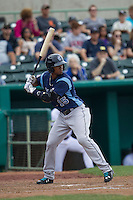 Corpus Christi Hooks outfielder Teoscar Hernandez (15) at bat during the Texas League baseball game against the San Antonio Missions on May 10, 2015 at Nelson Wolff Stadium in San Antonio, Texas. The Missions defeated the Hooks 6-5. (Andrew Woolley/Four Seam Images)