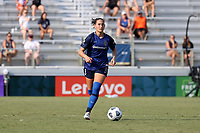 CARY, NC - SEPTEMBER 12: Kaleigh Kurtz #3 of the North Carolina Courage plays the ball during a game between Portland Thorns FC and North Carolina Courage at Sahlen's Stadium at WakeMed Soccer Park on September 12, 2021 in Cary, North Carolina.