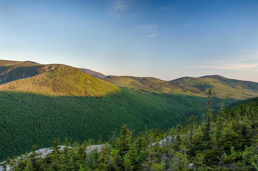 The Zealand Valley awaits the suns rays, early morning in New Hampshires White Mountains.