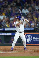 Cade Beloso (24) of the LSU Tigers at bat against the Texas Longhorns in game three of the 2020 Shriners Hospitals for Children College Classic at Minute Maid Park on February 28, 2020 in Houston, Texas. The Tigers defeated the Longhorns 4-3. (Brian Westerholt/Four Seam Images)