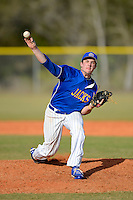 South Dakota State Jackrabbits pitcher J.D. Moore #22 during a game against the Ohio State Buckeyes at North Charlotte Regional Park on February 23, 2013 in Port Charlotte, Florida.  Ohio State defeated South Dakota State 5-2.  (Mike Janes/Four Seam Images)