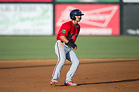 Mark Contreras (5) of the Elizabethton Twins takes his lead off of second base against the Danville Braves at American Legion Post 325 Field on July 1, 2017 in Danville, Virginia.  The Twins defeated the Braves 7-4.  (Brian Westerholt/Four Seam Images)