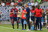 AUSTIN, TX - JULY 29: United States head coach Gregg Berhalter talks with Sam Vines #3 during a game between Qatar and USMNT at Q2 Stadium on July 29, 2021 in Austin, Texas.