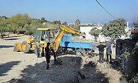 FAO JANET TOMLINSON, DAILY MAIL PICTURE DESK<br /> Pictured: A digger is used to search the land adjacent to a disused building in a field in Kos, Greece. Saturday 01 October 2016<br /> Re: Police teams led by South Yorkshire Police, searching for missing toddler Ben Needham on the Greek island of Kos have moved to a new area in the field they are searching.<br /> Ben, from Sheffield, was 21 months old when he disappeared on 24 July 1991 during a family holiday.<br /> Digging has begun at a new site after a fresh line of inquiry suggested he could have been crushed by a digger.