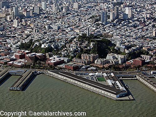 aerial photograph of Pier 29. Coit Tower, Telegraph Hill, San Francisco, California