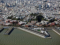 aerial photograph of Pier 29. Coit Tower, Telegraph Hill, San Francisco, California