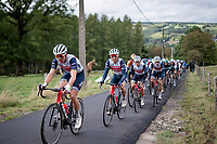 Former World Champion Mads Pedersen (DEN/Trek-Segafredo) paving the way for Richie Porte (AUS/Trek-Segafredo) up the Côte de Stockeu <br /> <br /> 106th Liège-Bastogne-Liège 2020 (1.UWT)<br /> 1 day race from Liège to Liège (257km)<br /> <br /> ©kramon
