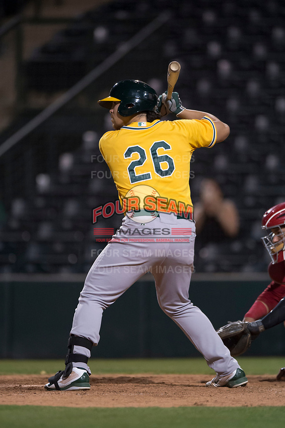 AZL Athletics first baseman Gio Dingcong (26) at bat during an Arizona League game against the AZL Angels at Tempe Diablo Stadium on June 26, 2018 in Tempe, Arizona. The AZL Athletics defeated the AZL Angels 7-1. (Zachary Lucy/Four Seam Images)