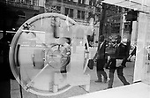 New York, New York<br /> USA<br /> May 2010<br /> <br /> A massive vault in the window of a J.P. Morgan Chase bank front window on Park Avenue.