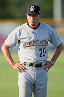 Greeneville Astros hitting coach Pete Rancont #29 at Burlington Athletic Stadium June22, 2010, in Burlington, North Carolina.  Photo by Brian Westerholt / Four Seam Images