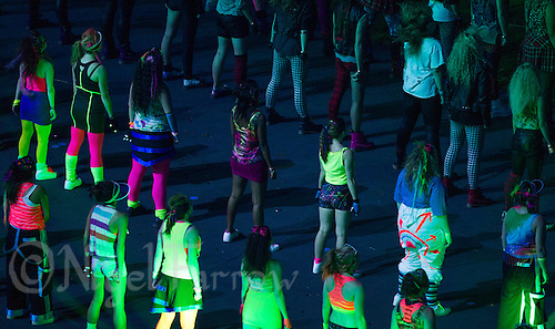 """27 JUL 2012 - LONDON, GBR - Dancers perform during the """"Frankie and June say...thanks Tim"""" section of the Opening Ceremony of the London 2012 Olympic Games in the Olympic Stadium in the Olympic Park, Stratford, London, Great Britain .(PHOTO (C) 2012 NIGEL FARROW)"""