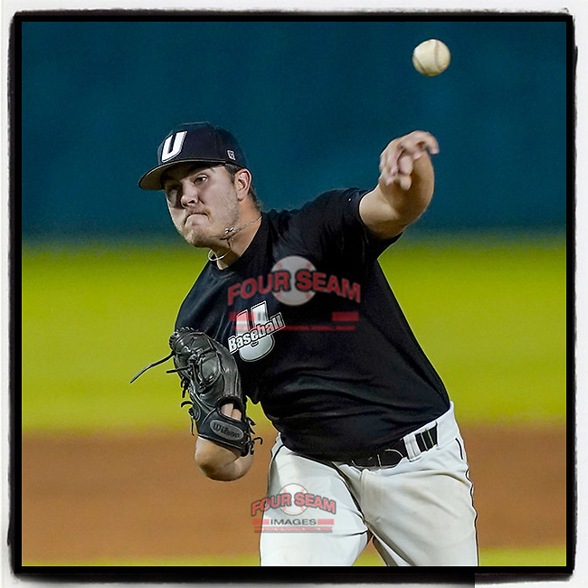 Sawyer Worrell (22) of the University of South Carolina Upstate Spartans Black team pitches in relief in the Green and Black Fall World Series Game 4 on Wednesday, November 4, 2020, at Cleveland S. Harley Park in Spartanburg, South Carolina. Green won, 8-0. (Tom Priddy/Four Seam Images)