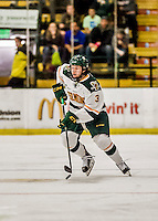 15 November 2015: University of Vermont Catamount Defenseman Mike Lee, a Freshman from Hamden, CT, in second period action against the University of Massachusetts Minutemen at Gutterson Fieldhouse in Burlington, Vermont. The Minutemen rallied from a three goal deficit to tie the game 3-3 in their Hockey East matchup. Mandatory Credit: Ed Wolfstein Photo *** RAW (NEF) Image File Available ***