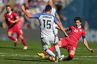 San Diego, CA - Sunday January 29, 2017: Steve Birnbaum, Aleksandar Palocevic during an international friendly between the men's national teams of the United States (USA) and Serbia (SRB) at Qualcomm Stadium.