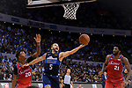 Jose Juan Barea of Dallas Mavericks (R) plays against Markelle Fultz of 76ers (L) during the NBA China Games 2018 match between Dallas Mavericks and Philadelphia 76ers at Universiade Center on October 08 2018 in Shenzhen, China. Photo by Marcio Rodrigo Machado / Power Sport Images