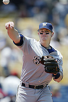 Tyler Houston of the Milwaukee Brewers throws before a 2002 MLB season game against the Los Angeles Dodgers at Dodger Stadium, in Los Angeles, California. (Larry Goren/Four Seam Images)