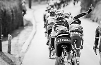 request for assistance at the back of the peloton<br /> <br /> 57th Brabantse Pijl - La Flèche Brabançonne (1.HC)<br /> 1 Day Race: Leuven › Overijse (197km)
