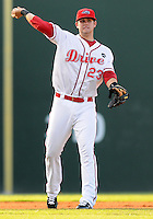 July 29, 2009: Casey Kelly (23) of the Greenville Drive, a top Boston Red Sox pitching prospect now playing shortstop, throws to first in a game at Fluor Field at the West End in Greenville, S.C. Photo by: Tom Priddy/Four Seam Images