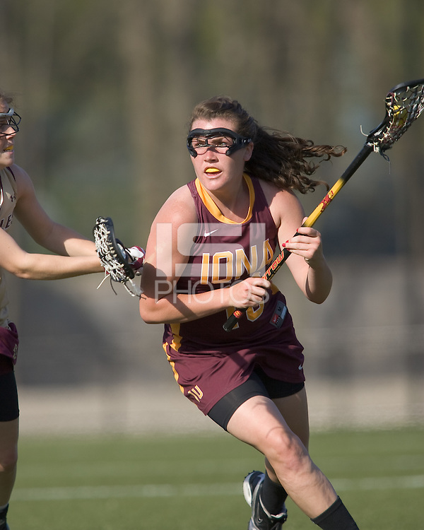Casey Scully (I 10) driving. Boston College defeated Iona College, 19-5.