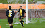 Berwick Rangers 5 East Stirlingshire 0, 23/08/2014. Shielfield Park, Scottish League Two. Home team substitute player Scott Dalziel (centre) celebrating after scoring his team's fourth goal in the second half at Shielfield Park, during the Scottish League Two fixture between Berwick Rangers and East Stirlingshire. The home club occupied a unique position in Scottish football as they are based in Berwick-upon-Tweed, which lies a few miles inside England. Berwick won the match by 5-0, watched by a crowd of 509. Photo by Colin McPherson.