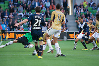 MELBOURNE, AUSTRALIA - DECEMBER 27: Ricardinho of the Victory taps the ball for a goal from a Robbie Kruse cross during the round 20 A-League match between the Melbourne Victory and the Newcastle Jets at AAMI Park on December 27, 2010 in Melbourne, Australia. (Photo by Sydney Low / Asterisk Images)