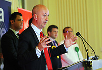 Pictured: Geraint Davies, Swansea West Labour candidate gives a speech after he is announced as the winner. Friday 09 June 2017<br />