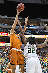 point guard Sune Agbuke (22) defends center Imani McGee-Stafford (34) during Big 12 women's basketball championship final, Sunday, March 08, 2015 in Dallas, Tex. (Dan Wozniak/TFV Media via AP Images)
