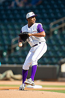 Winston-Salem Dash starting pitcher Angel Sanchez (22) in action against the Wilmington Blue Rocks at BB&T Ballpark on July 6, 2014 in Winston-Salem, North Carolina.  The Dash defeated the Blue Rocks 7-1.   (Brian Westerholt/Four Seam Images)
