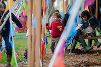 Thursday  29 May 2014, Hay on Wye, UK<br /> Pictured: Children play amongst the flags at the Festival<br /> Re: The Hay Festival, Hay on Wye, Powys, Wales UK.