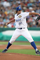 Luis Mendoza #39 of the Omaha Storm Chasers plays for the Pacific Coast League All-Stars in the annual Triple-A All-Star Game against the International League All-Stars at Spring Mobile Ballpark on July 13, 2011  in Salt Lake City, Utah. The International League won the game, 3-0. Bill Mitchell/Four Seam Images.